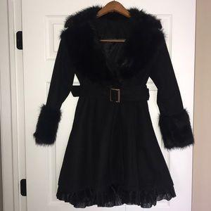 Black faux fur collar wool like coat